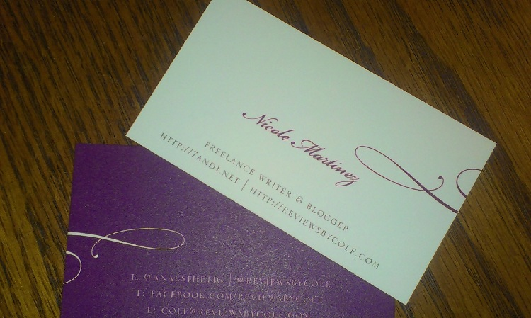 Brand new business cards -- in purple